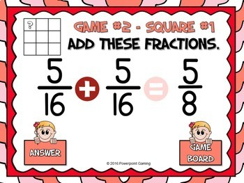 Adding Fractions Valentine's Day Powerpoint Game