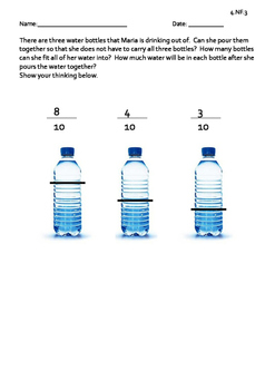 Adding Fractions Water Bottles