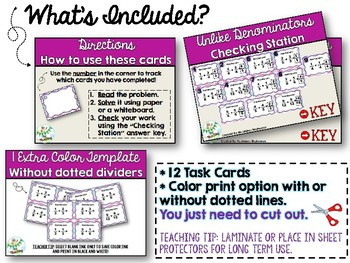 Adding Fractions With Like Denominators Task Cards