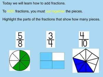 Adding Fractions With Like Denominators Using Pictures