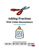 Adding Fractions With Unlike Denominators - Cut and Paste