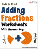 Adding Fractions with Unlike Denominators Worksheet, Includes Like Denominator