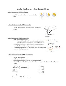 Adding Fractions and Mixed Numbers Handout