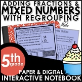 Adding Fractions and Mixed Numbers with Regrouping Interactive Notebook Set