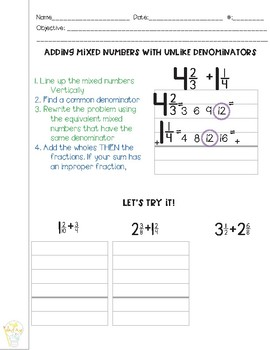 Adding Fractions and Mixed Numbers with Unlike Denominators Guided Math Notes