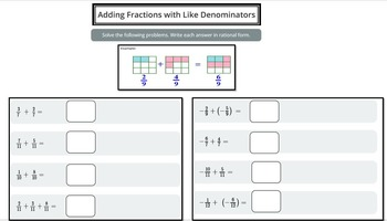 Adding Fractions (like and unlike denominators)