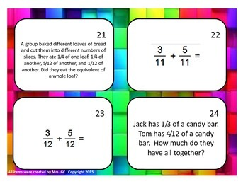 Adding Fractions (no mixed numbers) Task Cards