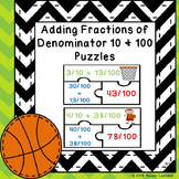 Adding Fraction Game Puzzle Adding Fractions with Denominators 10 and 100 4.NF.5