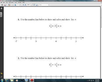 Adding Fractions on a Number Line (5.NF.1)