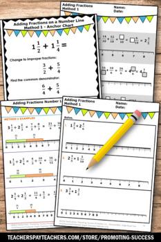 adding fractions with unlike denominators worksheets  number lines