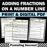 Adding Fractions on a Number Line Worksheets Math Distance Learning Packet Digit
