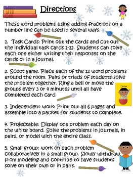 Adding Fractions on a Number Line Task or Scoot Cards 4.NF.B.3.D