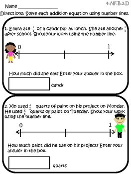 Adding Fractions on a Number Line Task Cards