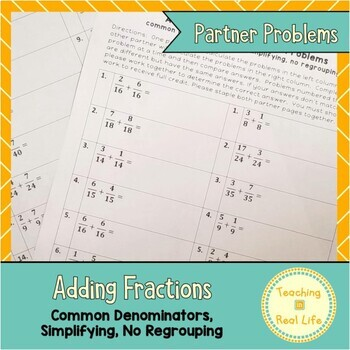 Adding Fractions with Common Denominators Partner Problems
