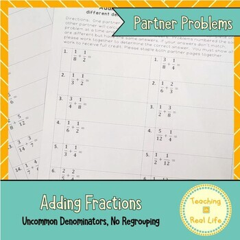 Adding Fractions with Different Denominators Partner Problems