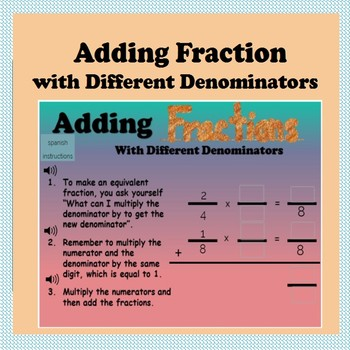 BoomCards- Adding Fractions with Different Denominators- Boom Cards