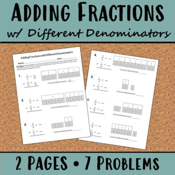adding fractions using fraction strips teaching resources  teachers  adding fractions with different denominators worksheet adding fractions  with different denominators worksheet