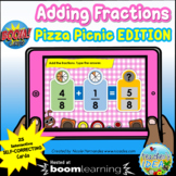 Adding Fractions with LIKE Denominators Boom Cards™  - Piz
