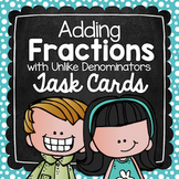 Adding Fractions with Unlike Denominators Task Cards for Centers & Scoot