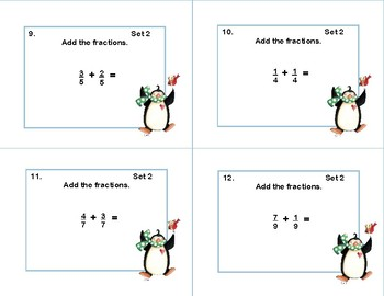 Adding Fractions with Like Denominators -40 Task Cards