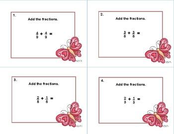 Adding Fractions with Like Denominators -40 Task CardsValentine's Day