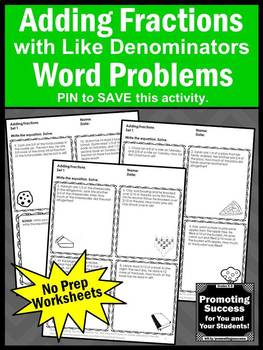 Adding Fractions with Like Denominators Worksheets, 4th Grade Math Test Prep