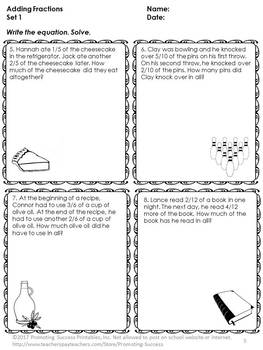 Adding Fractions with Like Denominators Worksheets, 4th Grade Math Review