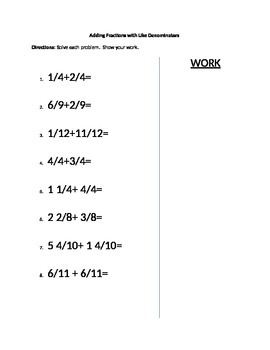 Adding Fractions with Like Denominators (Beginner)