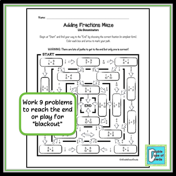 Adding Fractions with Like Denominators Maze