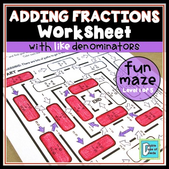 Adding Fractions with Like Denominators Maze