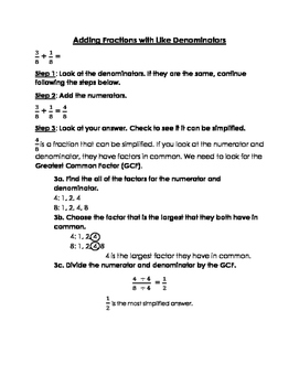 Adding Fractions with Like Denominators Notes