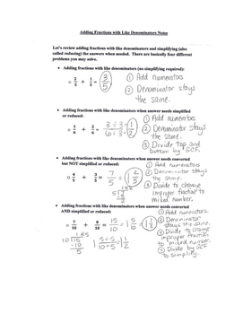 Adding Fractions with Like Denominators Review Notes and Practice Page