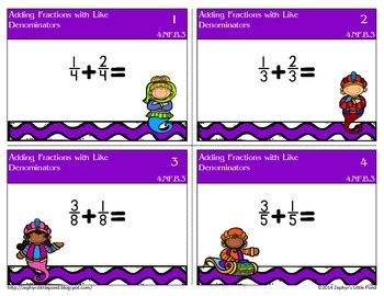 Adding Fractions with Like Denominators {Task Cards}