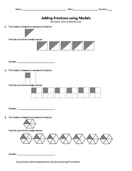 Adding Fractions with Like Denominators using Unit Fraction Models