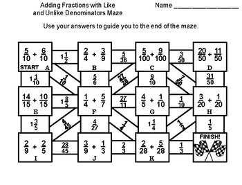 Adding Fractions with Like and Unlike Denominators Game: Math Maze