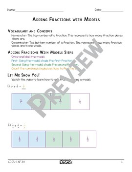 Adding Fractions with Models Math Video and Worksheet