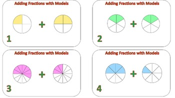 Adding Fractions with ModelsTask Cards