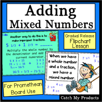 Adding Mixed Numbers with Like Denominators for Promethean Board