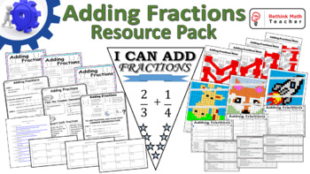 Adding Fractions with Uncommon Denominators - Learning Stations Resource Pack