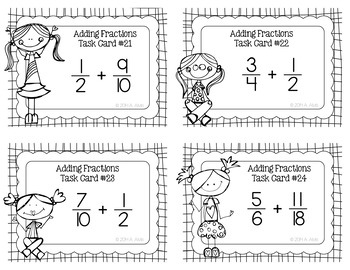 Fraction Task Cards - Adding Fractions with Uncommon Denominators - SCOOT