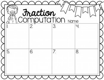Subtracting Fractions Task Cards for Centers, Review, Scoot, & Test Prep