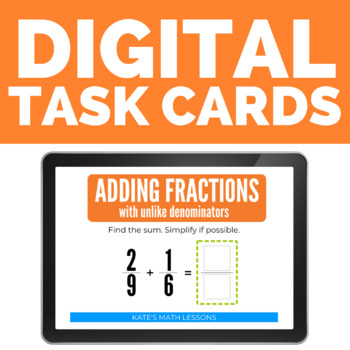 Adding Fractions with Unlike Denominators Boom Cards