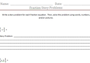 Adding Fractions with Unlike Denominators: Choose your Own Story Problem
