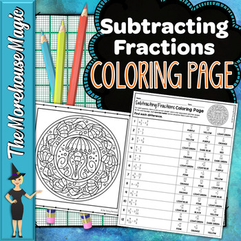 Subtracting Fractions with Unlike Denominators Coloring Page