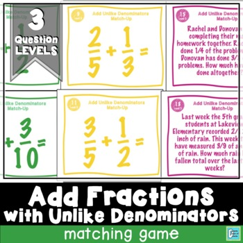 Adding Fractions with Unlike Denominators Matching Game