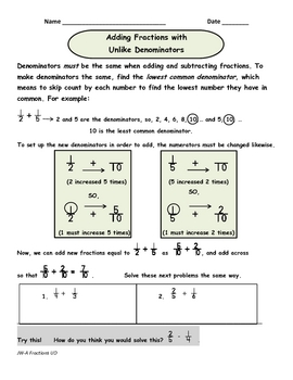 Adding Fractions with Unlike Denominators Part 1