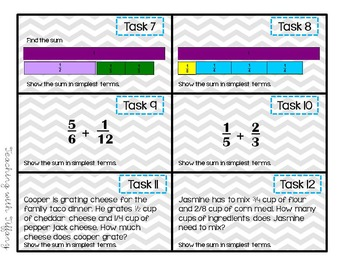 Adding Fractions with Unlike Denominators Power Point and Task Cards