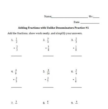 Adding Fractions with Unlike Denominators Practice Worksheet