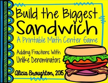 Adding Fractions with Unlike Denominators Printable Math Center