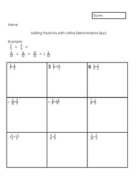 Adding Fractions with Unlike Denominators Quiz